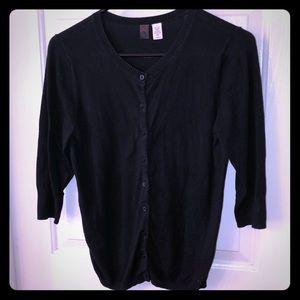 Black 3/4 length sleeve button down cardigan
